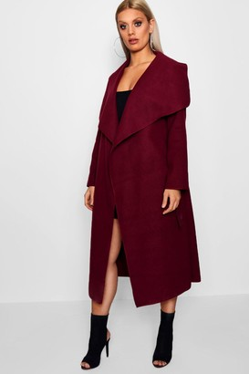 boohoo Plus Wrap Wool Look Coat