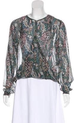 Veronica Beard Sheer Silk Floral Blouse w/ Tags