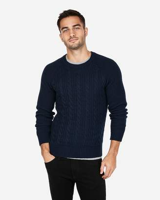 Express Solid Cable Knit Crew Neck Sweater
