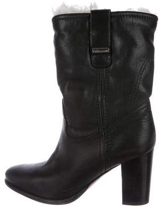 Burberry Shearling-Trimmed Leather Boots