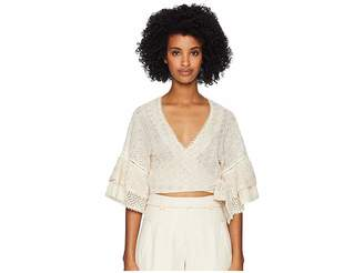 Jonathan Simkhai Embroidered Voile Wrap Flutter Sleeve Top