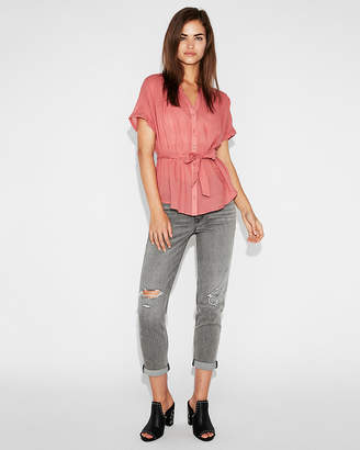 Express Sheer Tie-Waist Shirt