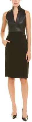 Akris Leather-Trim Wool-Blend Sheath Dress