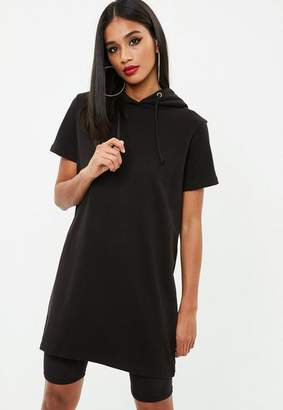 Missguided Black Short Sleeve Hooded Sweater Dress