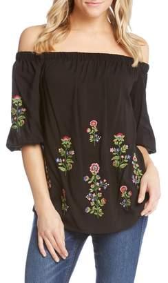 Karen Kane Floral Embroidered Off the Shoulder Blouse