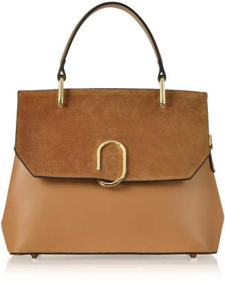 Le Parmentier Thais Suede and Leather Satchel Bag