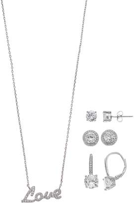 Paige Harper Silver Over Brass Earring And Love Necklace Gift Set