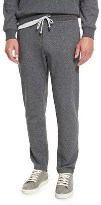 Brunello Cucinelli Cotton-Blend Drawstring Sweatpants, Dark Gray $695 thestylecure.com