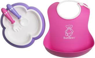 BABYBJÖRN 4-pc. Baby Bib, Plate, Spoon & Fork Feeding Set