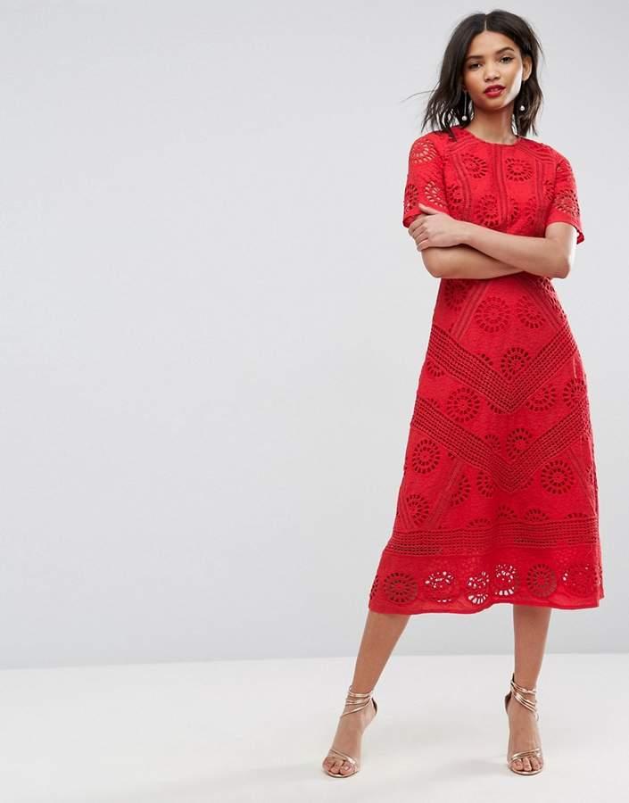 AsosASOS PREMIUM Midi Dress in Broderie Fabric
