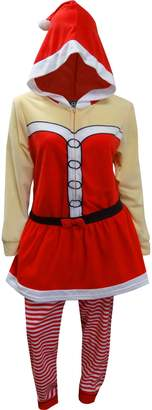 Briefly Stated Mrs Santa Claus One Piece Hooded Skirted Union Suit Pajama for women