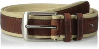 Nautica Men's 1 3/8 Washed Cotton Web Belt with Leather Overlay