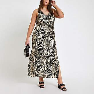 River Island Plus black zebra print maxi dress