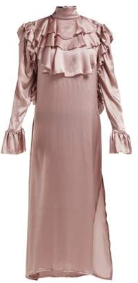 Harris Reed - Ruffle Trim Silk Midi Dress - Womens - Pink