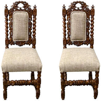 One Kings Lane Vintage 19th- C. Barley Twist Side Chairs,Pair - Von Meyer Ltd.