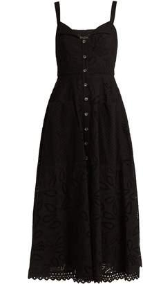 Saloni Fara broderie-anglaise cotton midi dress