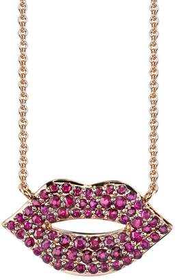 Sydney Evan Small Ruby Lips Necklace - Rose Gold