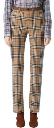 Burberry Dana Archive Check Print Cotton Pants