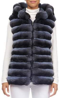 Norman Ambrose Zip-Front Hooded Reversible Chinchilla Fur Quilted Vest