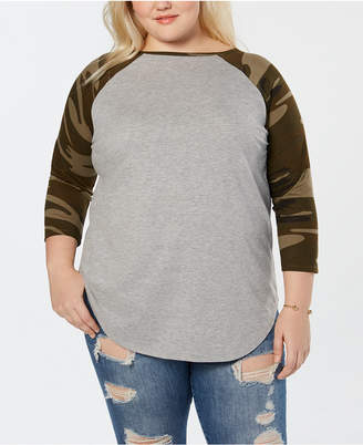 Love Tribe Plus Size Camo-Sleeve Raglan Top