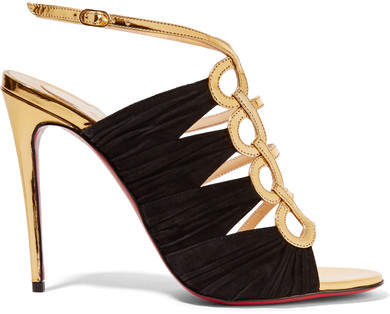 Christian Louboutin - Tina 100 Metallic Leather And Suede Sandals - Gold