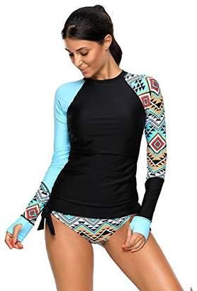 MANDEKU Womens Rashguard Long Sleeve UV Rash Guard Swimwear Tankini Swimsuit