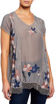 Johnny Was Royal Short-Sleeve Floral Embroidered Semisheer Blouse