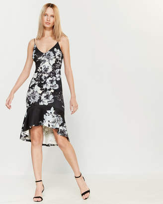 Necessary Objects Floral Ruffle Hem Dress