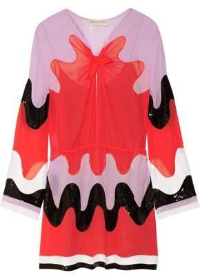 Emilio Pucci Color-Block Sequin-Paneled Silk-Georgette Mini Dress