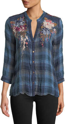 Johnny Was Pascal Aragon Plaid Embroidered Blouse