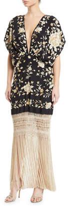 Johanna Ortiz V-Neck Floral Embroidered Fringe-Hem Dress