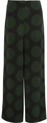 McQ Alexander McQueen - Polka-dot Crepe Wide-leg Pants - Forest green $480 thestylecure.com