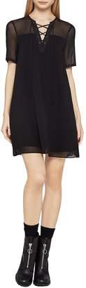 BCBGeneration Women's Short-Sleeve Sheer Corset Dress