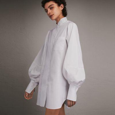 Burberry Burberry Herringbone Cotton Shirt Dress with Voluminous Sleeves