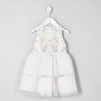 River Island Mini girls cream embellished tiered dress