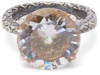 Bottega Veneta Cubic Zirconia And Silver Intrecciato Ring - Womens - Gold
