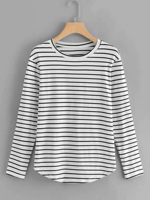 Shein Elbow Patch Striped T-shirt