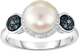 Honora Cultured Pearl 8mm & Diamond Halo Sterling Ring