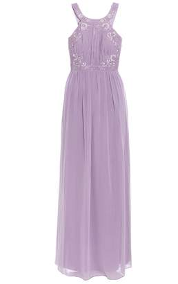 Quiz Lilac Chiffon Embellished High Neck Keyhole Dress