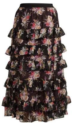 Rebecca Taylor Bouquet Tiered Silk Blend Chiffon Skirt - Womens - Black Print