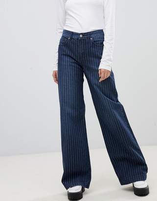 Dr. Denim jam mid rise wide leg jean in pinstripe