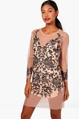boohoo Boutique Embroidered Mesh Bodycon Dress