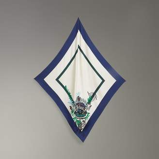 Burberry Scribble Archive Crest Silk Square Scarf