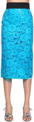 N°21 Pvc Floral Lace Pencil Midi Skirt