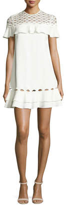 Jonathan Simkhai Rope Short-Sleeve Ruffle Dress, White $695 thestylecure.com
