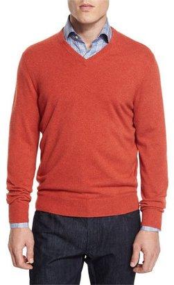 Neiman Marcus Cashmere V-Neck Sweater, Orange $295 thestylecure.com