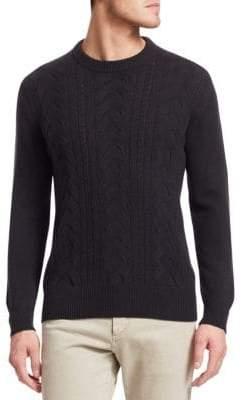 Loro Piana Cable Knit Wool Crew Sweater