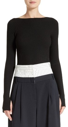Women's Tibi Lace-Up Scoop Back Pullover $450 thestylecure.com