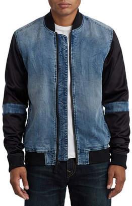 True Religion Men's Satin-Sleeve Denim Bomber Jacket