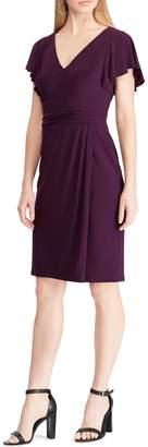 Chaps Flutter-Sleeve Jersey Sheath Dress